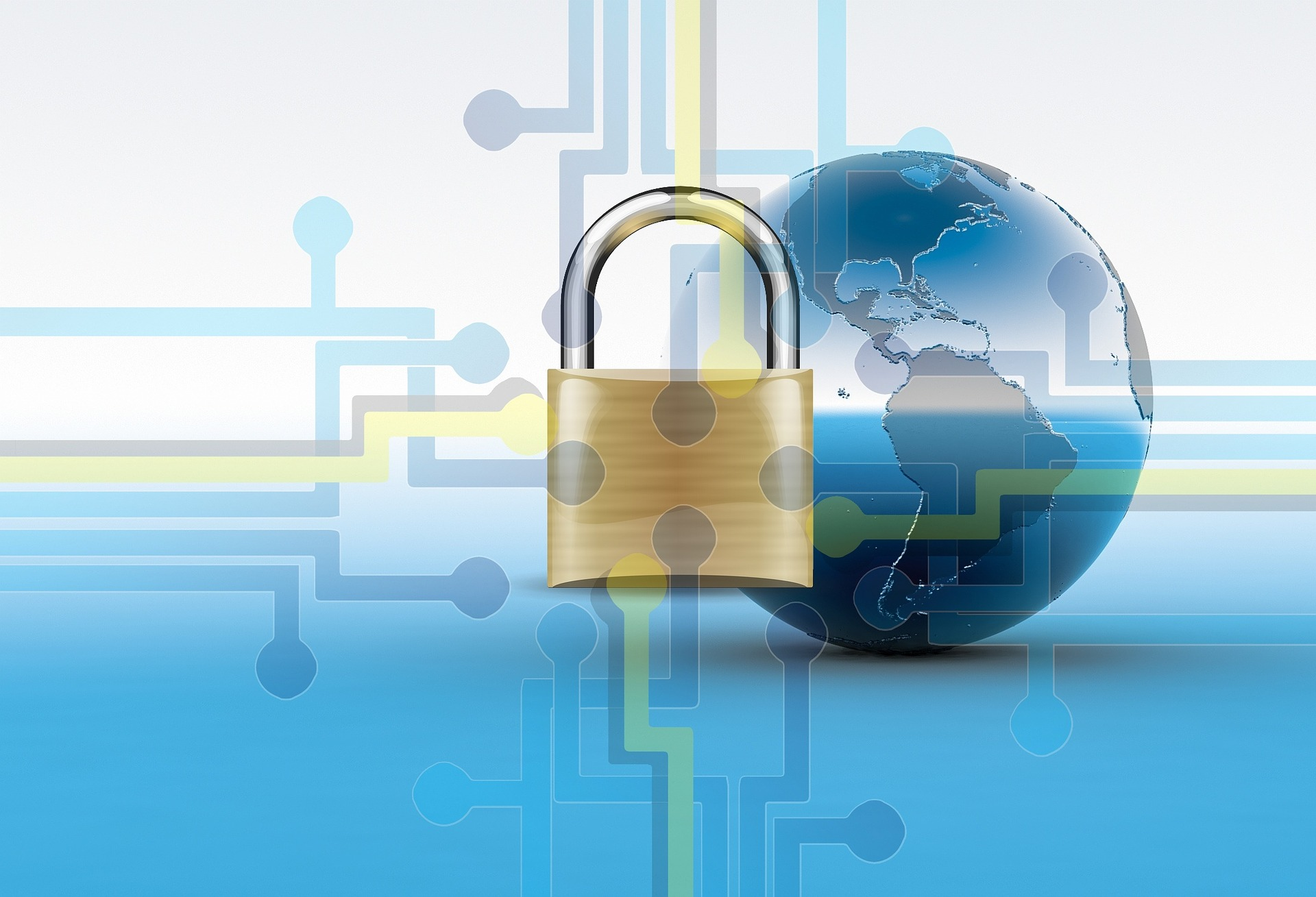 padlock with interconnected lines and a globe in the background