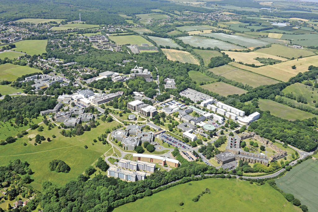 Aerial view of the University of Kent's Canterbury Campus