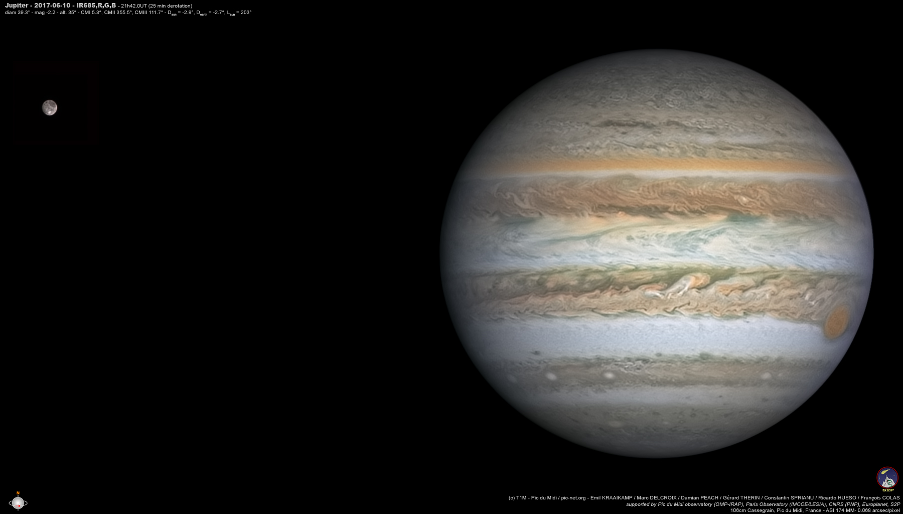 Jupiter images obtained at Pic du Midi show the global state of Jupiter's atmosphere providing context to the time gaps between observations run by the Juno mission and are the basis for long-term studies. Credit: E. Kraaikamp/ D. Peach/ F. Colas / M. Delcroix / R. Hueso/ C. Sprianu / G. Therin / Pic du Midi Observatory (OMP-IRAP) / Paris Observatory (IMCCE / LESIA) / CNRS (PNP) / Europlanet 2020 RI / S2P