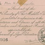 Scan of Helena Normanton's pink Law Student Card at Middle Temple