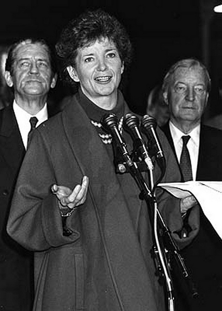 Black and white photo of Mary Robinson as President of Ireland in 1990